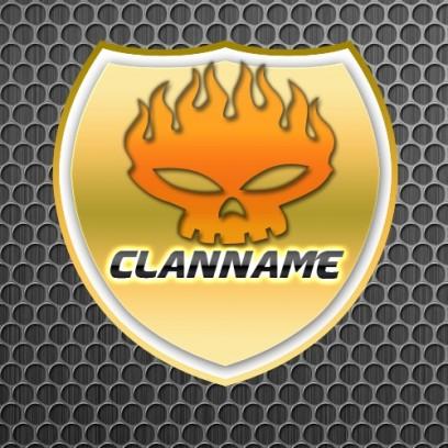 Wappen Logo Mit Flammentotenkopf